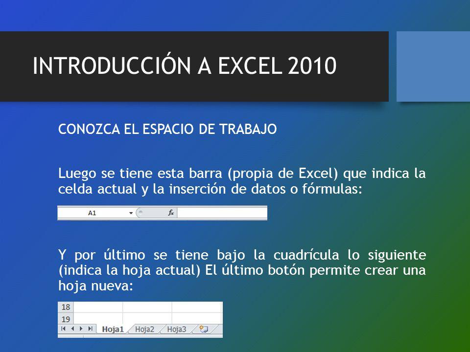 INTRODUCCIÓN A EXCEL 2010 CONOZCA EL ESPACIO DE TRABAJO Luego se tiene esta barra (propia de Excel) que indica la celda actual y la inserción de datos