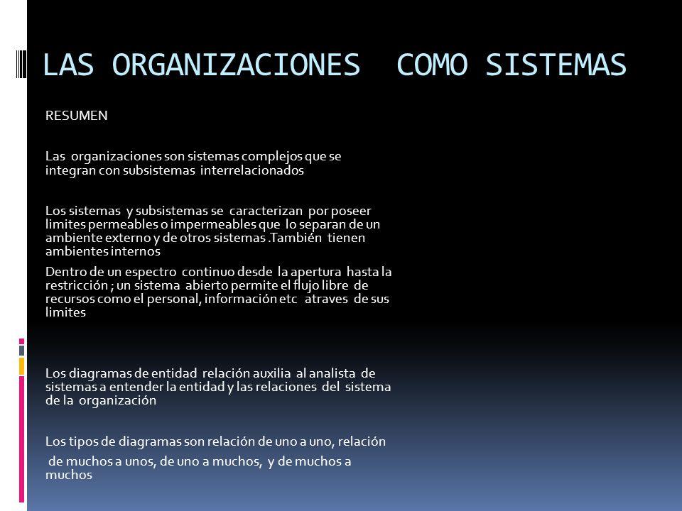 LAS ORGANIZACIONES COMO SISTEMAS RESUMEN Las organizaciones son sistemas complejos que se integran con subsistemas interrelacionados Los sistemas y subsistemas se caracterizan por poseer limites permeables o impermeables que lo separan de un ambiente externo y de otros sistemas.También tienen ambientes internos Dentro de un espectro continuo desde la apertura hasta la restricción ; un sistema abierto permite el flujo libre de recursos como el personal, información etc atraves de sus limites Los diagramas de entidad relación auxilia al analista de sistemas a entender la entidad y las relaciones del sistema de la organización Los tipos de diagramas son relación de uno a uno, relación de muchos a unos, de uno a muchos, y de muchos a muchos