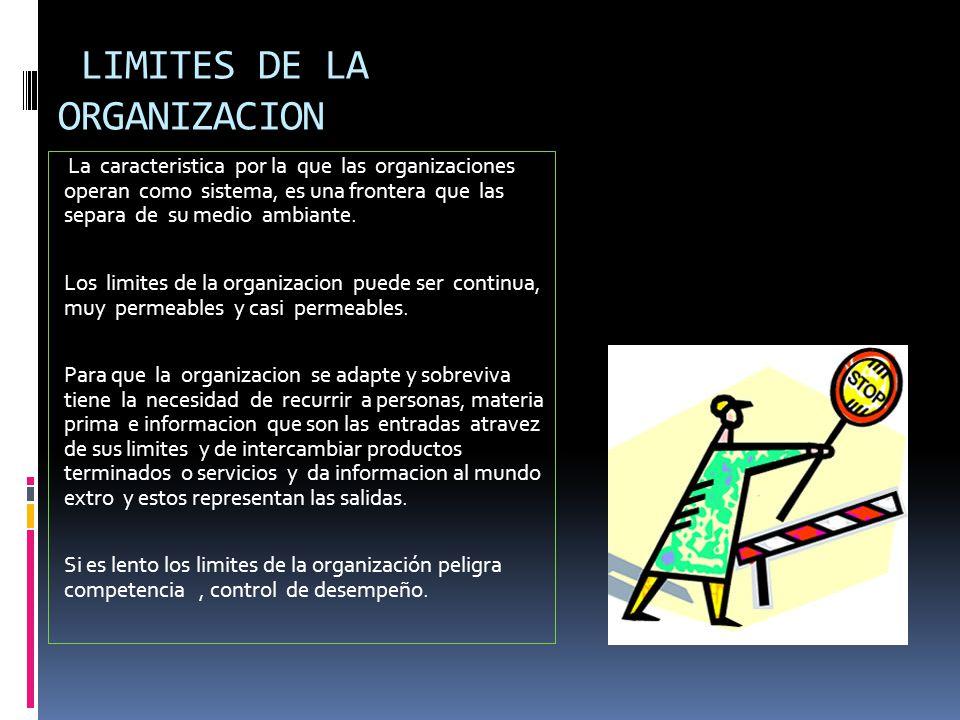 LIMITES DE LA ORGANIZACION La caracteristica por la que las organizaciones operan como sistema, es una frontera que las separa de su medio ambiante.
