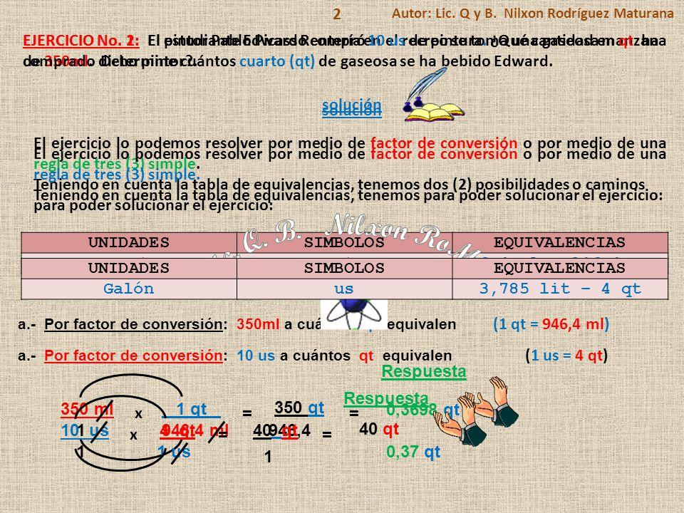 UNIDADESSIMBOLOSEQUIVALENCIAS Cuartoqt946,4 ml – 946,4 c.c 2 EJERCICIO No.