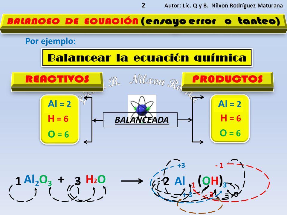 Autor: Lic. Q y B. Nilxon Rodríguez Maturana 2 Por ejemplo: Al 2 O 3 +H2OH2O Al (OH) (OH) Balancear la ecuación química Balancear la ecuación química