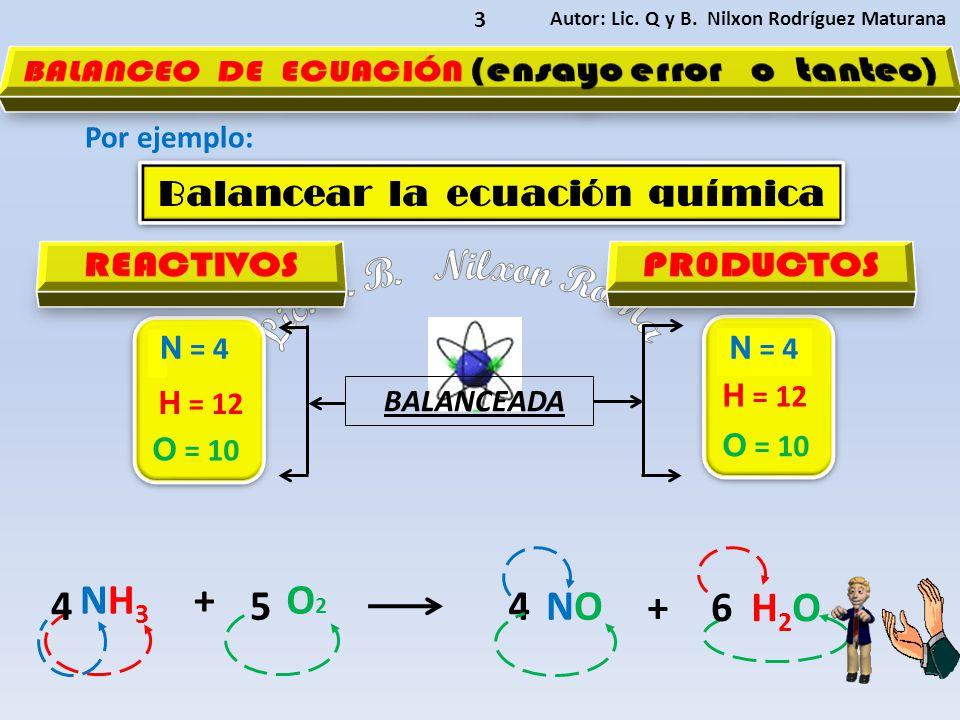 Autor: Lic. Q y B. Nilxon Rodríguez Maturana 3 Por ejemplo: NH 3 +O2O2 NONO H2O H2O Balancear la ecuación química Balancear la ecuación química BALANC