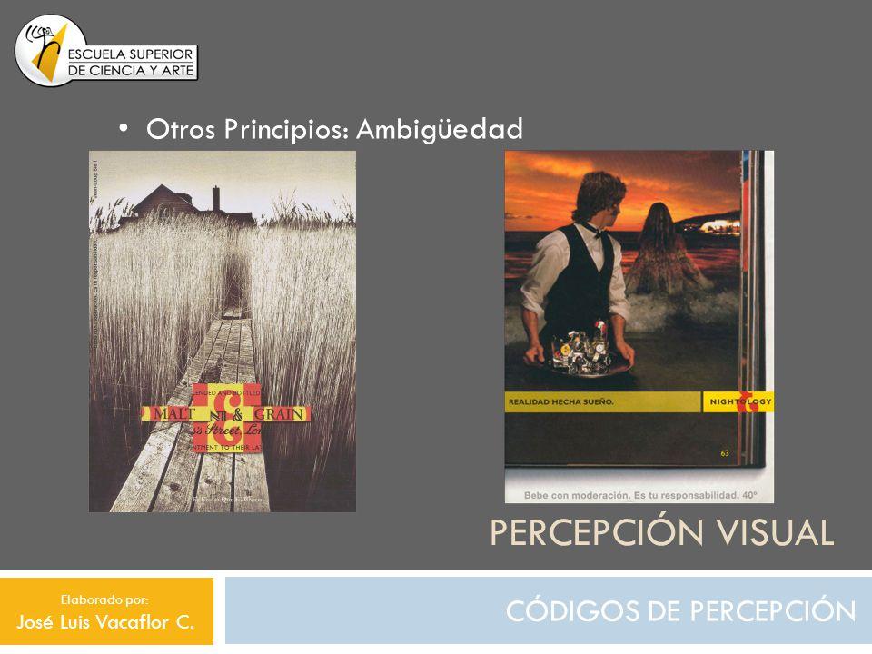 PERCEPCIÓN VISUAL CÓDIGOS DE PERCEPCIÓN Otros Principios: Ambig üedad e Elaborado por: José Luis Vacaflor C.