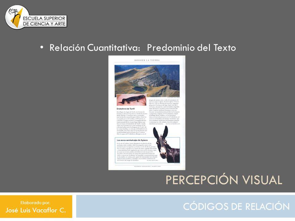 PERCEPCIÓN VISUAL CÓDIGOS DE RELACIÓN Relación Cuantitativa: Predominio del Texto Elaborado por: José Luis Vacaflor C.