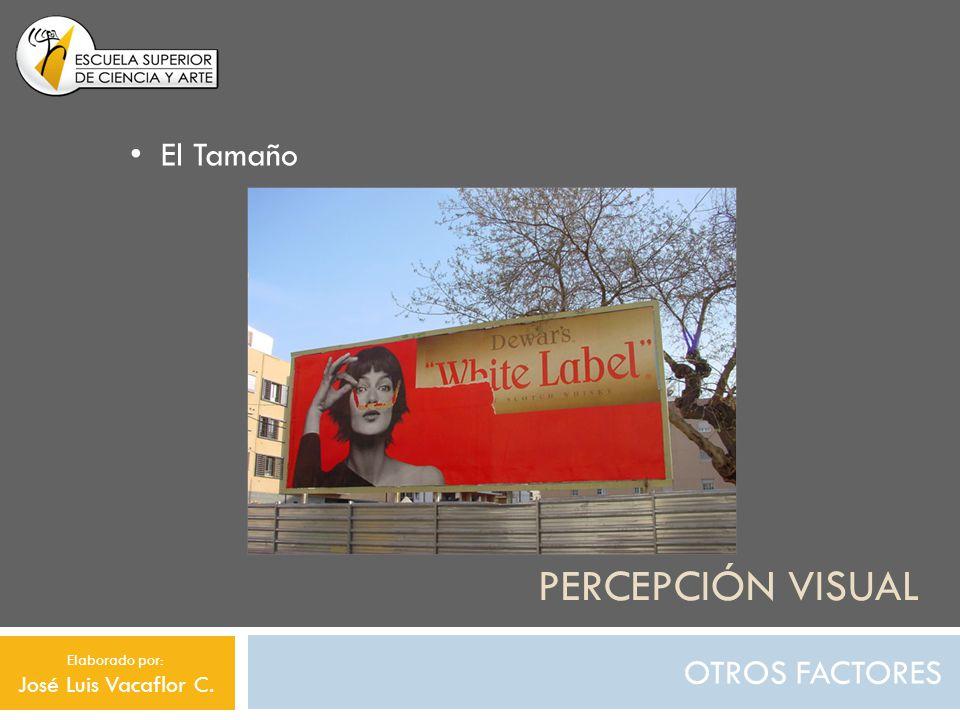 PERCEPCIÓN VISUAL OTROS FACTORES El Tamaño Elaborado por: José Luis Vacaflor C.