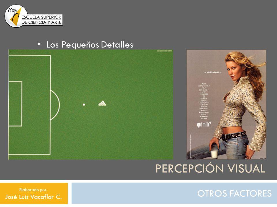 PERCEPCIÓN VISUAL OTROS FACTORES Los Pequeños Detalles Elaborado por: José Luis Vacaflor C.