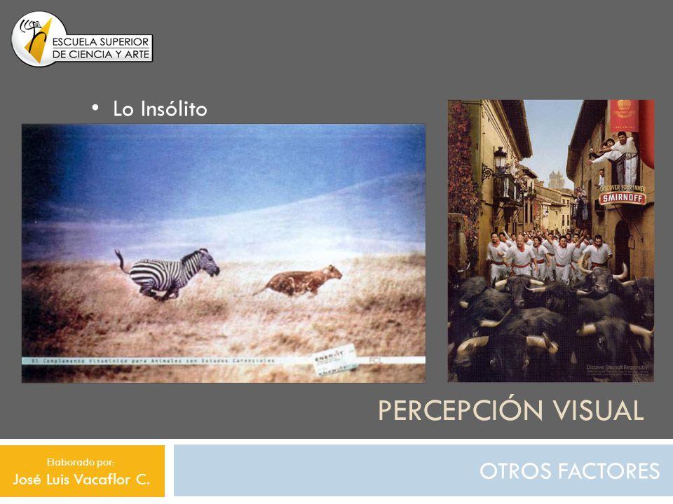 PERCEPCIÓN VISUAL OTROS FACTORES Lo Insólito Elaborado por: José Luis Vacaflor C.