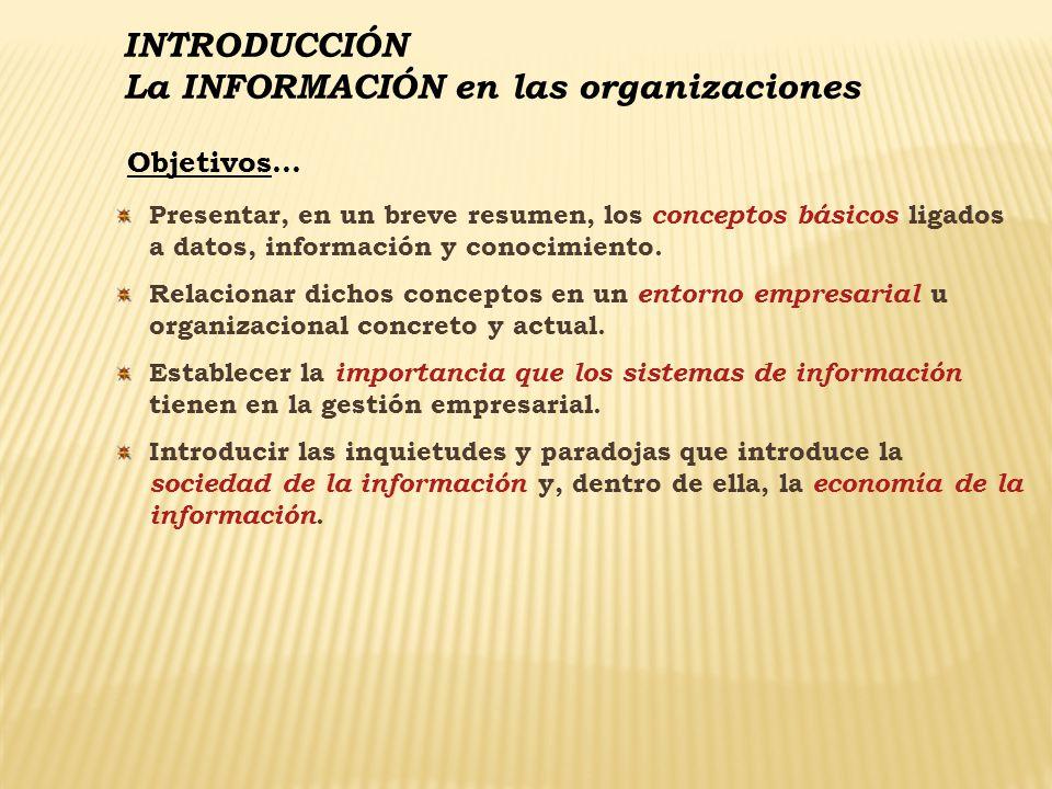 INTRODUCCIÓN La INFORMACIÓN en las organizaciones Conceptos básicos sobre Datos, Información y Sistemas La ERA DE LA INFORMACIÓN se caracteriza por: Rápidos CAMBIOS en el entorno empresarial Radicales AVANCES de la tecnología LUCHA por la información Recursos básicos: IDEAS e INFORMACIÓN La información es una BAZA ESTRATÉGICA En todos los países y circunstancias asistimos como diversas organizaciones luchan por el control: De los medios de comunicación.