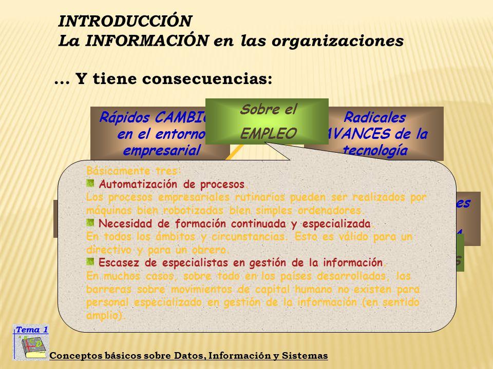 La información es una BAZA ESTRATÉGICA Radicales AVANCES de la tecnología Rápidos CAMBIOS en el entorno empresarial LUCHA por la información INTRODUCC