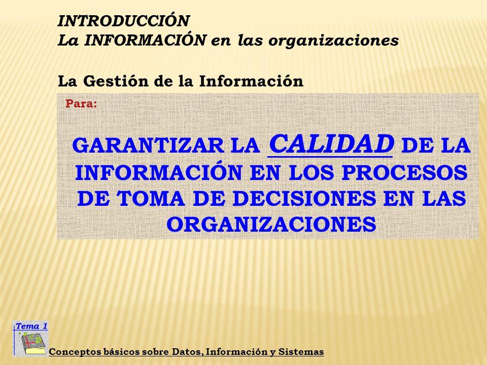 INTRODUCCIÓN La INFORMACIÓN en las organizaciones Conceptos básicos sobre Datos, Información y Sistemas La Gestión de la Información Surge de: Aumento