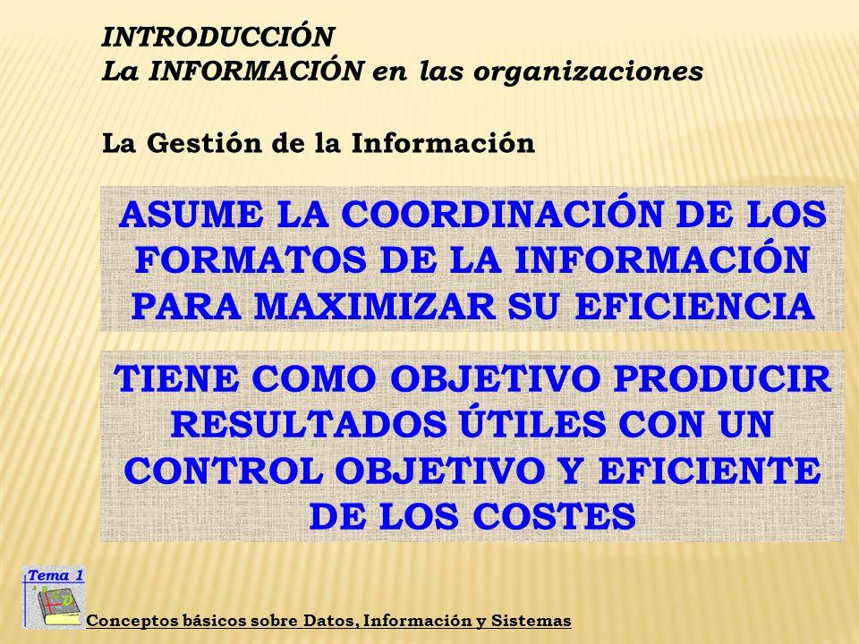 INTRODUCCIÓN La INFORMACIÓN en las organizaciones Conceptos básicos sobre Datos, Información y Sistemas La Gestión de la Información Para: GARANTIZAR
