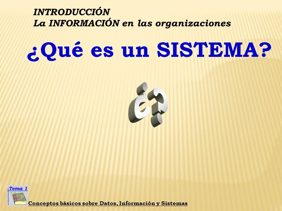 INTRODUCCIÓN La INFORMACIÓN en las organizaciones Conceptos básicos sobre Datos, Información y Sistemas La Gestión de la Información ASUME LA COORDINA