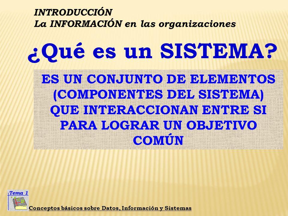 INTRODUCCIÓN La INFORMACIÓN en las organizaciones Conceptos básicos sobre Datos, Información y Sistemas ¿Qué es un SISTEMA?