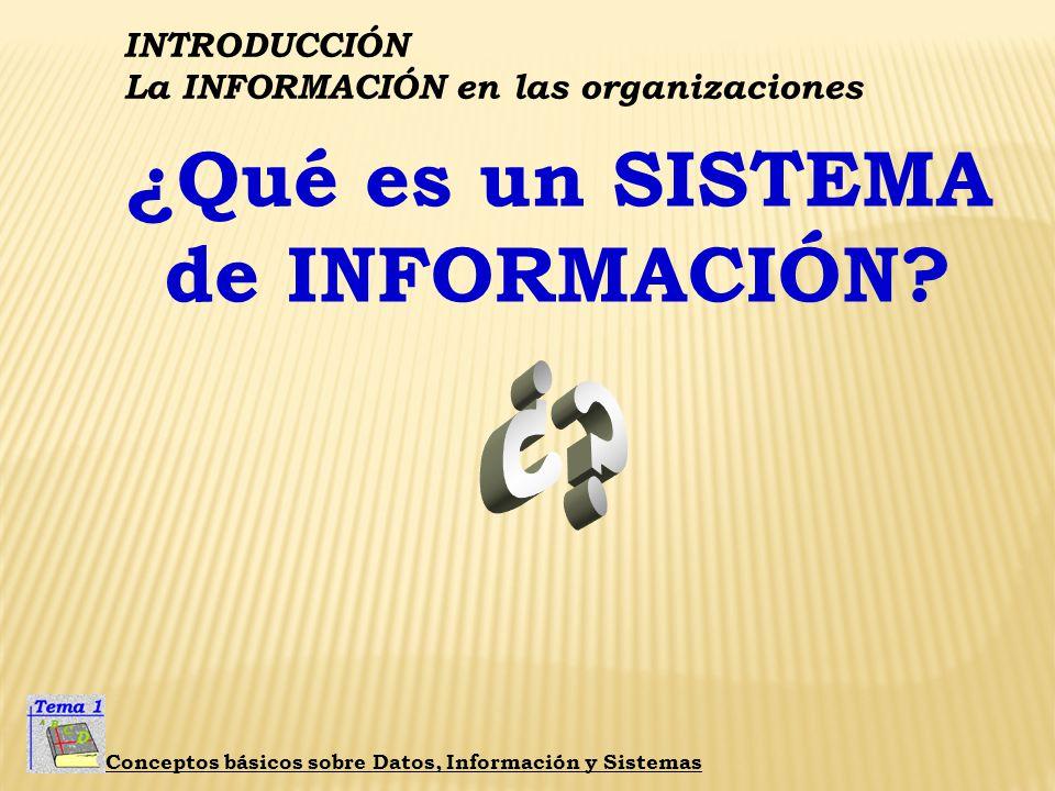 INTRODUCCIÓN La INFORMACIÓN en las organizaciones Conceptos básicos sobre Datos, Información y Sistemas ¿Qué es un SISTEMA? ES UN CONJUNTO DE ELEMENTO