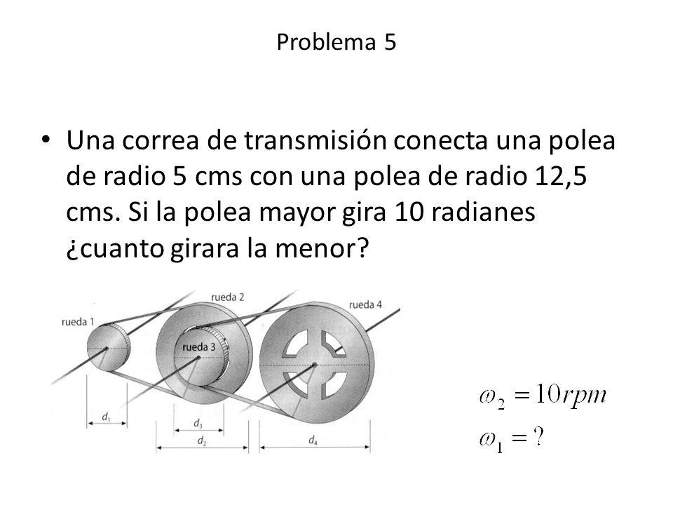 Una correa de transmisión conecta una polea de radio 5 cms con una polea de radio 12,5 cms. Si la polea mayor gira 10 radianes ¿cuanto girara la menor