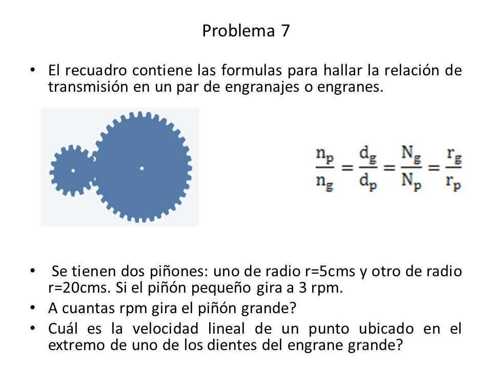El recuadro contiene las formulas para hallar la relación de transmisión en un par de engranajes o engranes. Se tienen dos piñones: uno de radio r=5cm