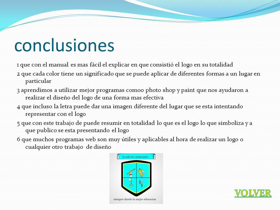 conclusiones 1 que con el manual es mas fácil el explicar en que consistió el logo en su totalidad 2 que cada color tiene un significado que se puede