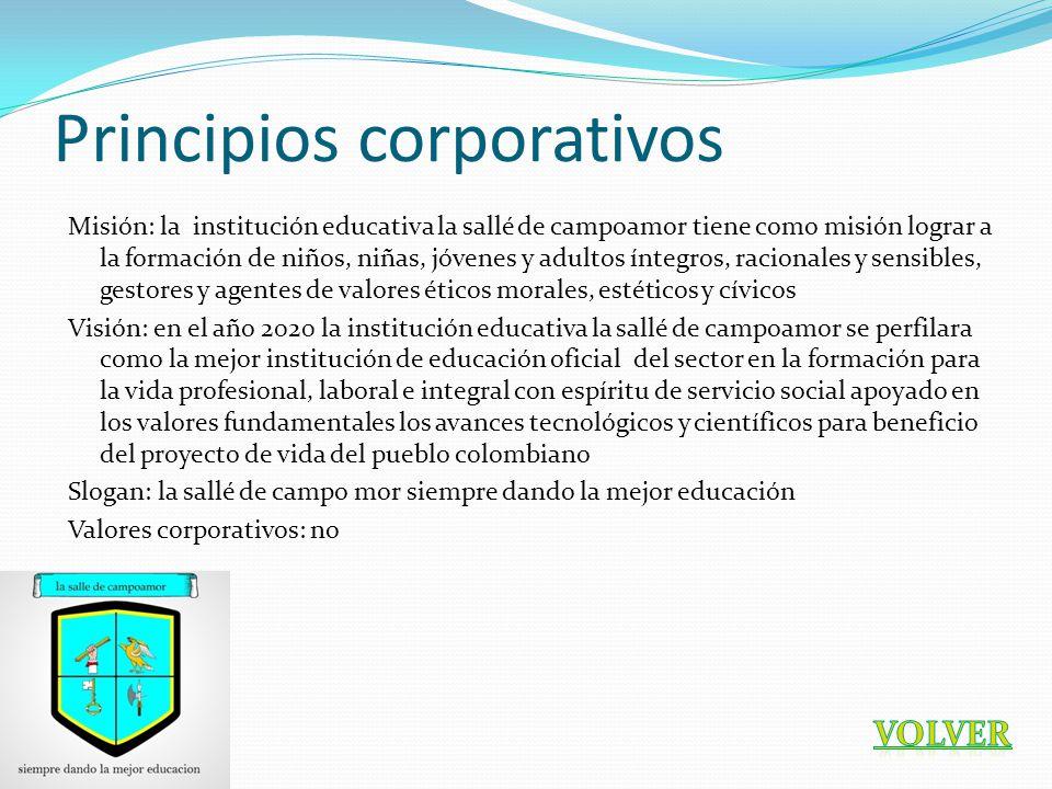 Principios corporativos Misión: la institución educativa la sallé de campoamor tiene como misión lograr a la formación de niños, niñas, jóvenes y adul