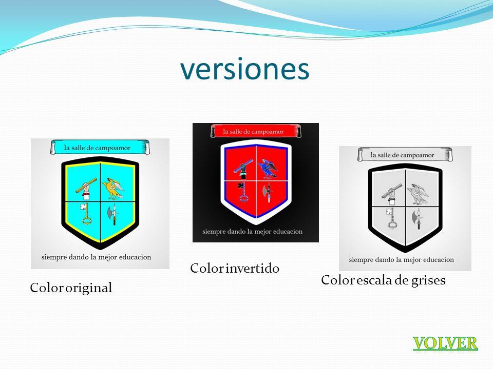 versiones Color original Color invertido Color escala de grises