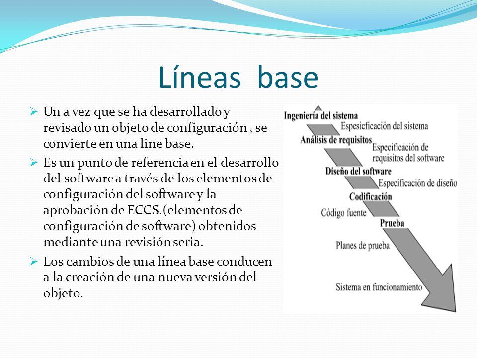 Líneas base Un a vez que se ha desarrollado y revisado un objeto de configuración, se convierte en una line base. Es un punto de referencia en el desa