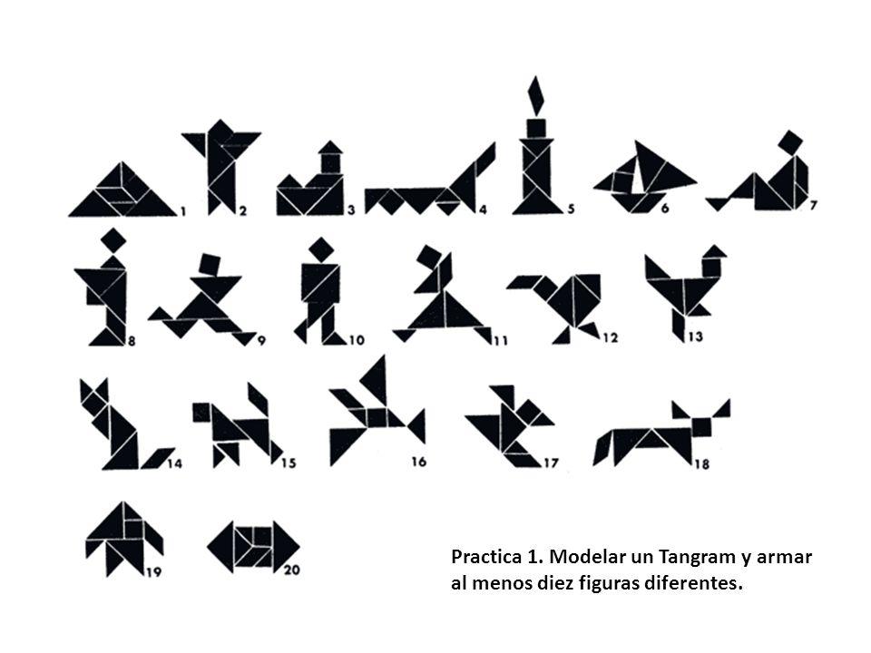 Practica 1. Modelar un Tangram y armar al menos diez figuras diferentes.