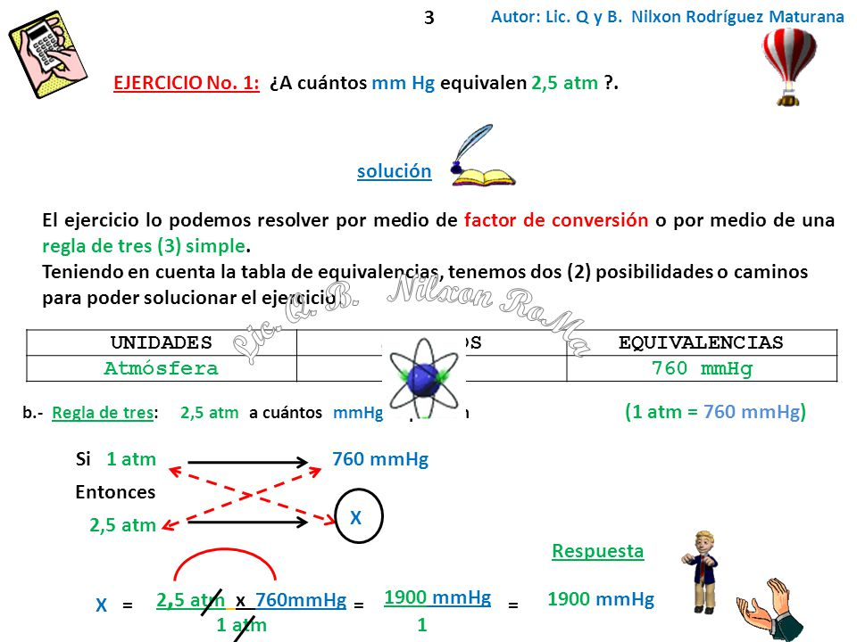= 1900 mmHg 1 = Respuesta Si 1 atm760 mmHg 2,5 atm X X= 2, 5 atm x 760mmHg 1 atm Entonces Autor: Lic. Q y B. Nilxon Rodríguez Maturana UNIDADESSIMBOLO