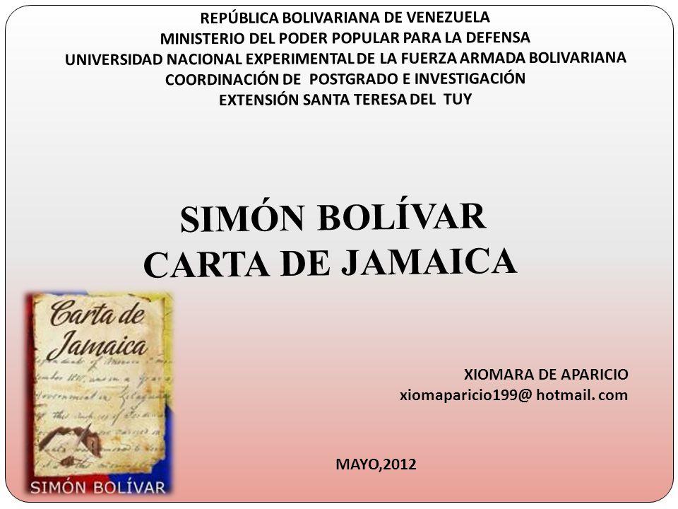 REPÚBLICA BOLIVARIANA DE VENEZUELA MINISTERIO DEL PODER POPULAR PARA LA DEFENSA UNIVERSIDAD NACIONAL EXPERIMENTAL DE LA FUERZA ARMADA BOLIVARIANA COOR