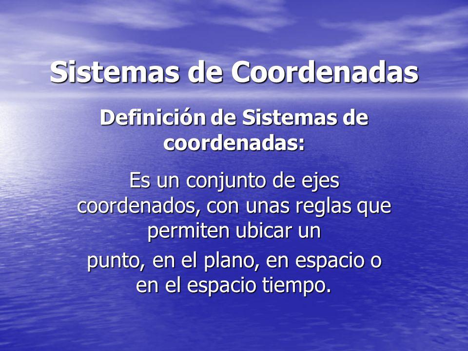 Definición de Sistemas de coordenadas: Sistemas de Coordenadas Es un conjunto de ejes coordenados, con unas reglas que permiten ubicar un punto, en el plano, en espacio o en el espacio tiempo.