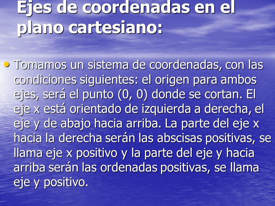 Ejes de coordenadas en el plano cartesiano: Tomamos un sistema de coordenadas, con las condiciones siguientes: el origen para ambos ejes, será el punto (0, 0) donde se cortan.