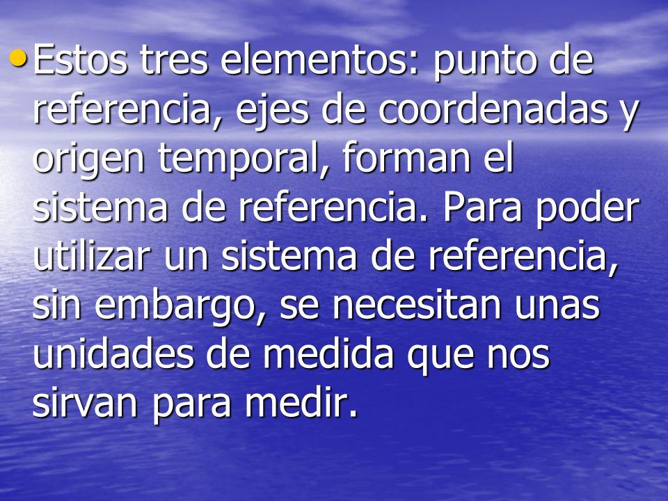 Estos tres elementos: punto de referencia, ejes de coordenadas y origen temporal, forman el sistema de referencia.