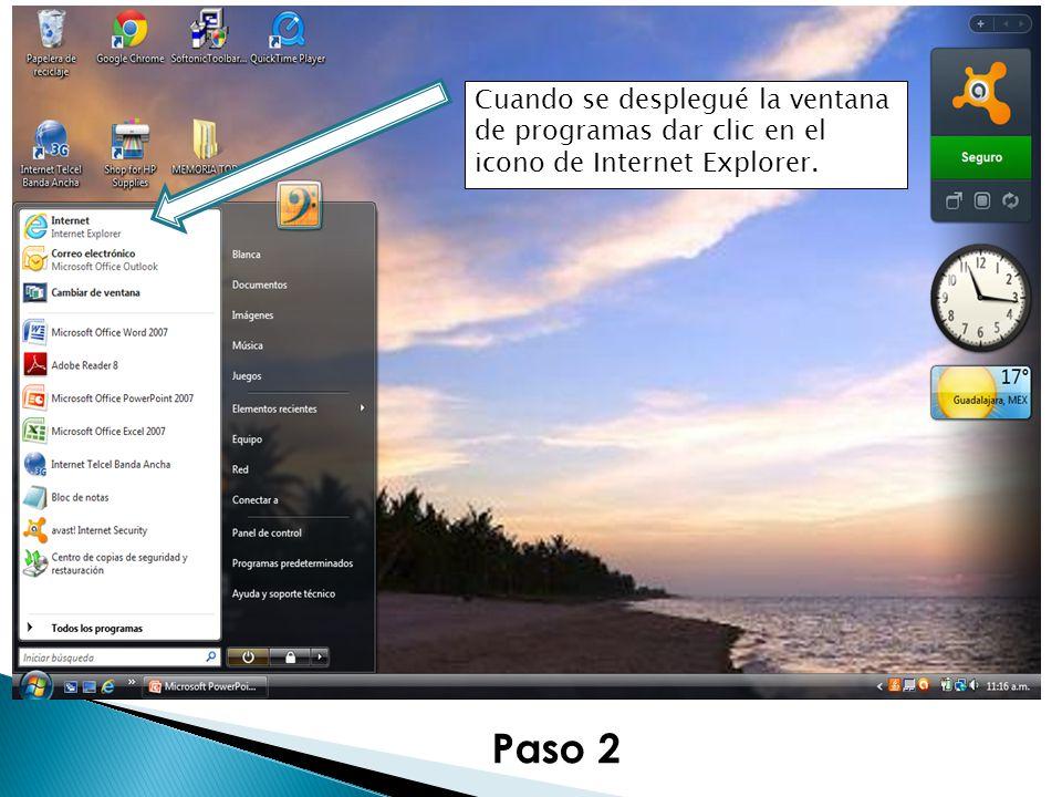 Paso 2 Cuando se desplegué la ventana de programas dar clic en el icono de Internet Explorer.