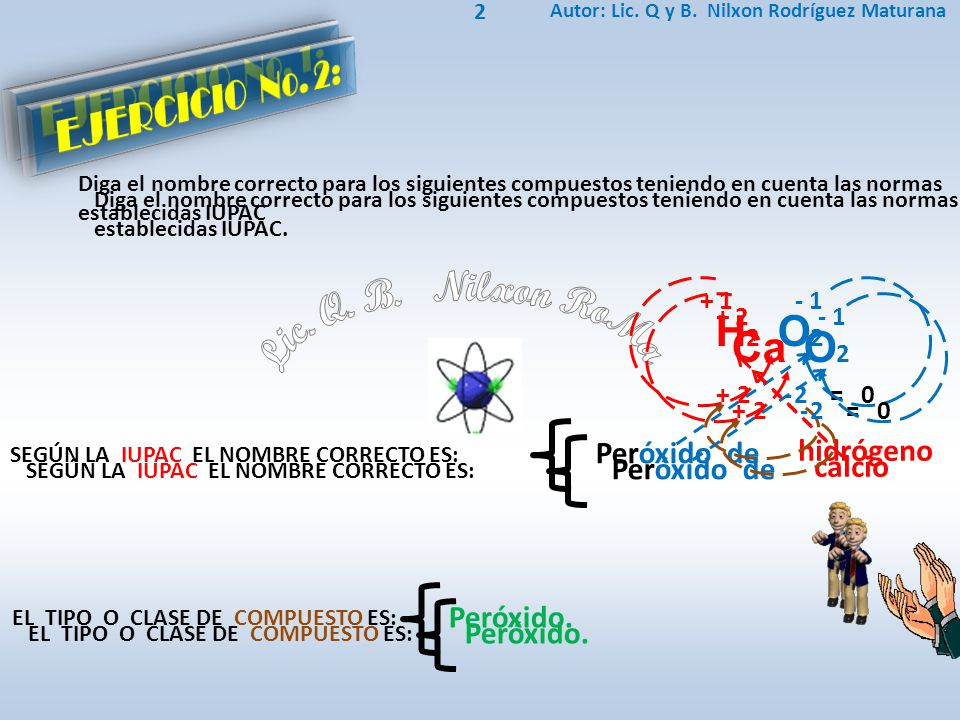 Peróxido de hidrógeno H2 O2H2 O2 SEGÚN LA IUPAC EL NOMBRE CORRECTO ES: Autor: Lic. Q y B. Nilxon Rodríguez Maturana 2 Diga el nombre correcto para los