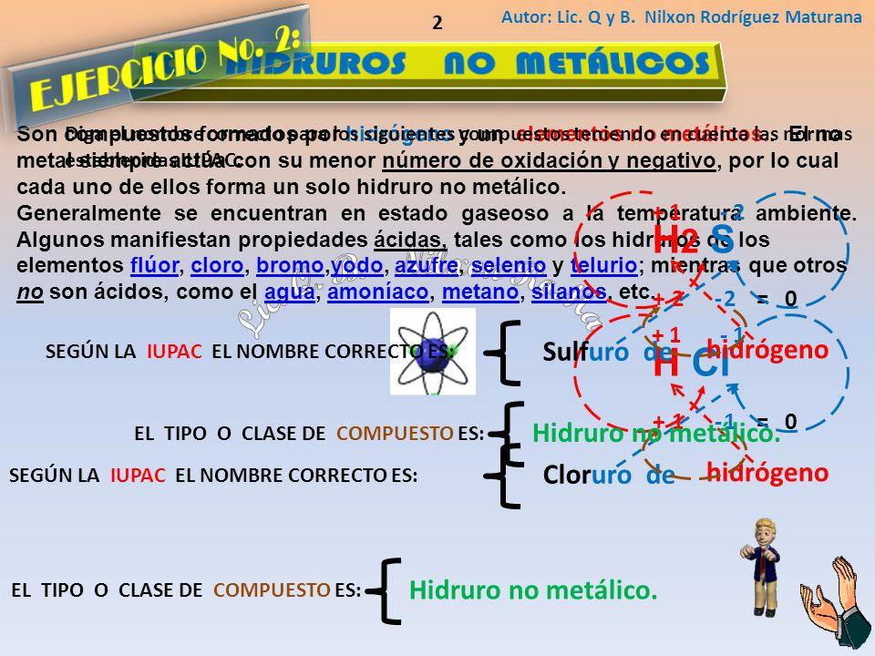 Autor: Lic. Q y B. Nilxon Rodríguez Maturana 2 Son compuestos formados por hidrógeno y un elementos no metálicos.. El no metal siempre actúa con su me