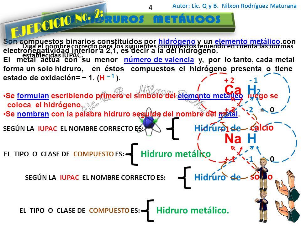 Autor: Lic. Q y B. Nilxon Rodríguez Maturana 4 Son compuestos binarios constituidos por hidrógeno y un elemento metálico.conhidrógenoelemento metálico
