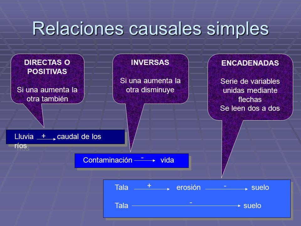 Relaciones causales simples DIRECTAS O POSITIVAS Si una aumenta la otra también INVERSAS Si una aumenta la otra disminuye ENCADENADAS Serie de variabl