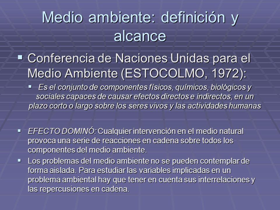Medio ambiente: definición y alcance Conferencia de Naciones Unidas para el Medio Ambiente (ESTOCOLMO, 1972): Es el conjunto de componentes físicos, q