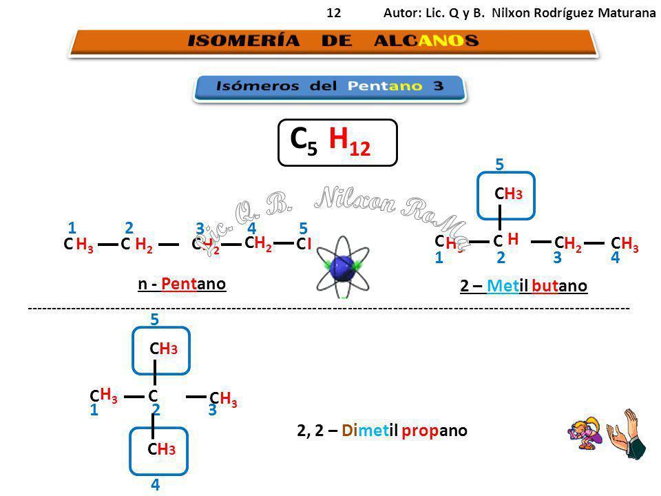 12 H3H3 CCCC 2 34 1 H2H2 H3H3 CH 3 H2H2 H3H3 C C C 231 H H3H3 n - Pentano 2 – Metil butano 4 C 5 H 12 C H2H2 5 C H2H2 5 CH 3 H3H3 C C C 231 H3H3 4 5 ------------------------------------------------------------------------------------------------------------------------ 2, 2 – Dimetil propano Autor: Lic.