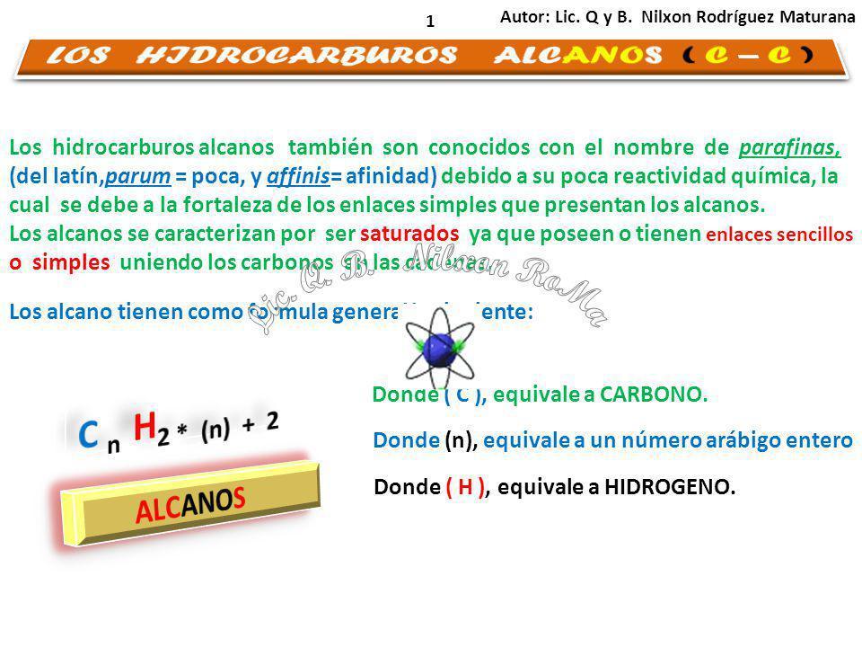 1 Los hidrocarburos alcanos también son conocidos con el nombre de parafinas, (del latín,parum = poca, y affinis= afinidad) debido a su poca reactividad química, la cual se debe a la fortaleza de los enlaces simples que presentan los alcanos.