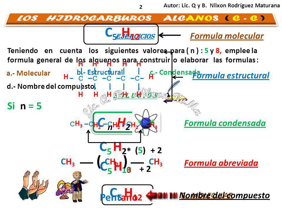 Teniendo en cuenta los siguientes valores para ( n ) : 5 y 8, emplee la formula general de los alquenos para construir o elaborar las formulas : 2 C n H 2 * (n) a.- Molecular b.- Estructural C d.- Nombre del compuesto.