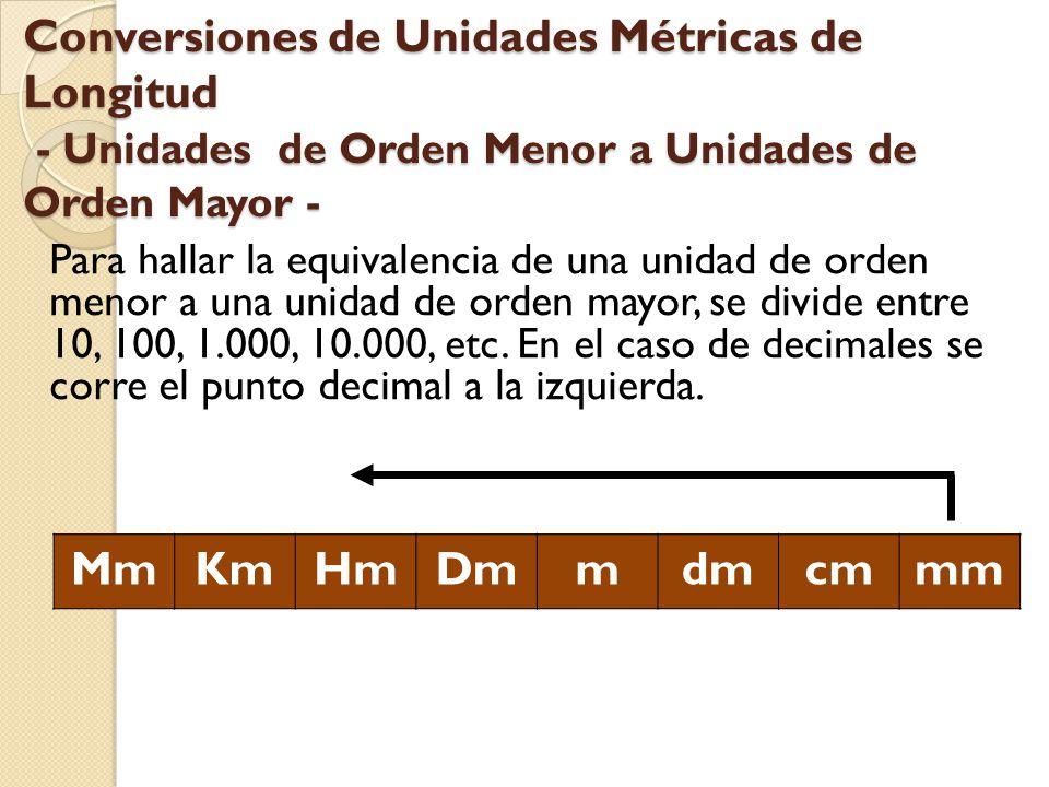 Conversiones de Unidades Métricas de Longitud - Unidades de Orden Menor a Unidades de Orden Mayor - Para hallar la equivalencia de una unidad de orden