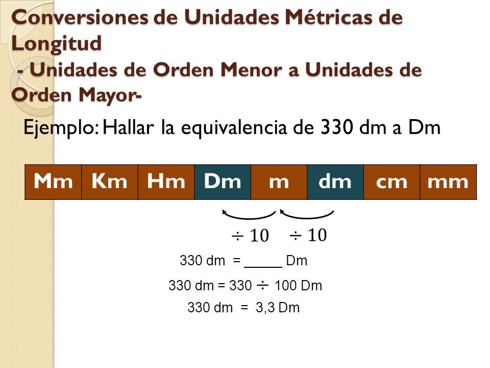 Conversiones de Unidades Métricas de Longitud - Unidades de Orden Menor a Unidades de Orden Mayor- Ejemplo: Hallar la equivalencia de 330 dm a Dm MmKm
