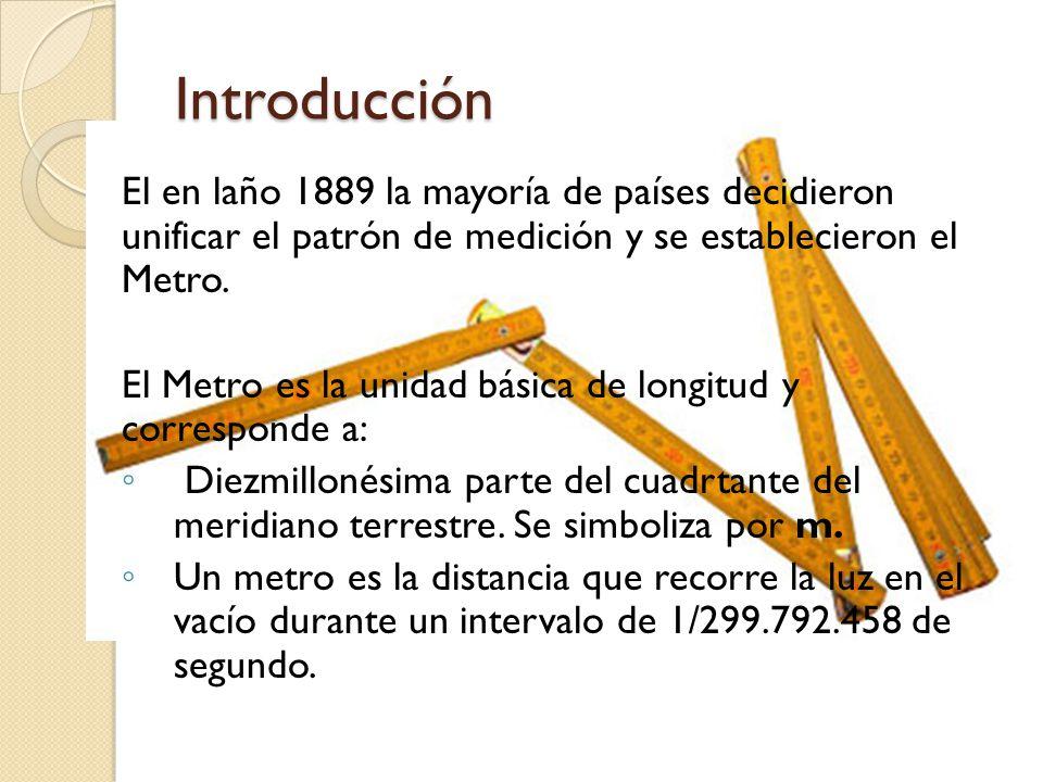 Introducción El en laño 1889 la mayoría de países decidieron unificar el patrón de medición y se establecieron el Metro. El Metro es la unidad básica