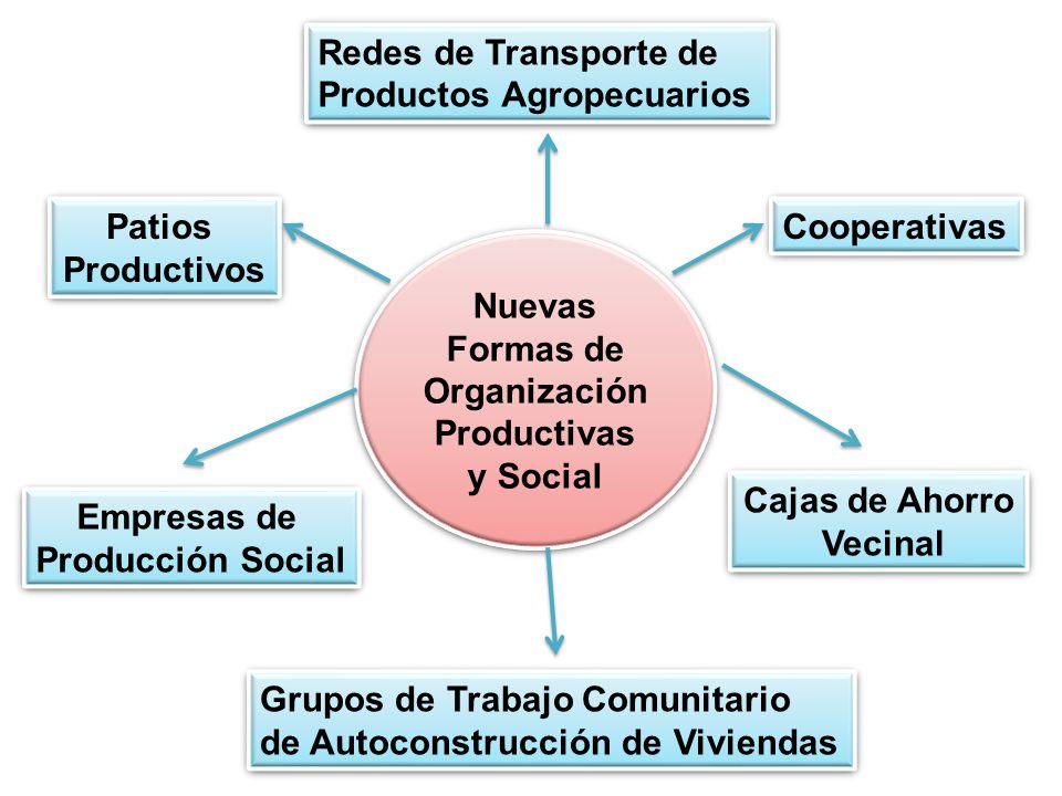 Nuevas Formas de Organización Productivas y Social Empresas de Producción Social Empresas de Producción Social Cooperativas Cajas de Ahorro Vecinal Cajas de Ahorro Vecinal Redes de Transporte de Productos Agropecuarios Redes de Transporte de Productos Agropecuarios Patios Productivos Patios Productivos Grupos de Trabajo Comunitario de Autoconstrucción de Viviendas Grupos de Trabajo Comunitario de Autoconstrucción de Viviendas