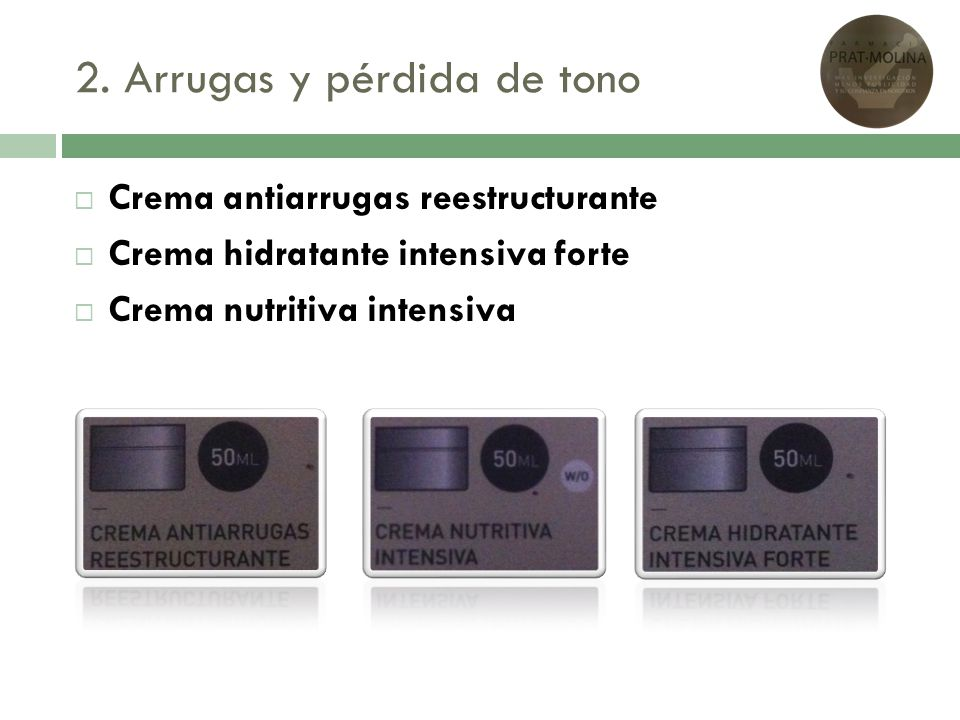 2. Arrugas y pérdida de tono Crema antiarrugas reestructurante Crema hidratante intensiva forte Crema nutritiva intensiva