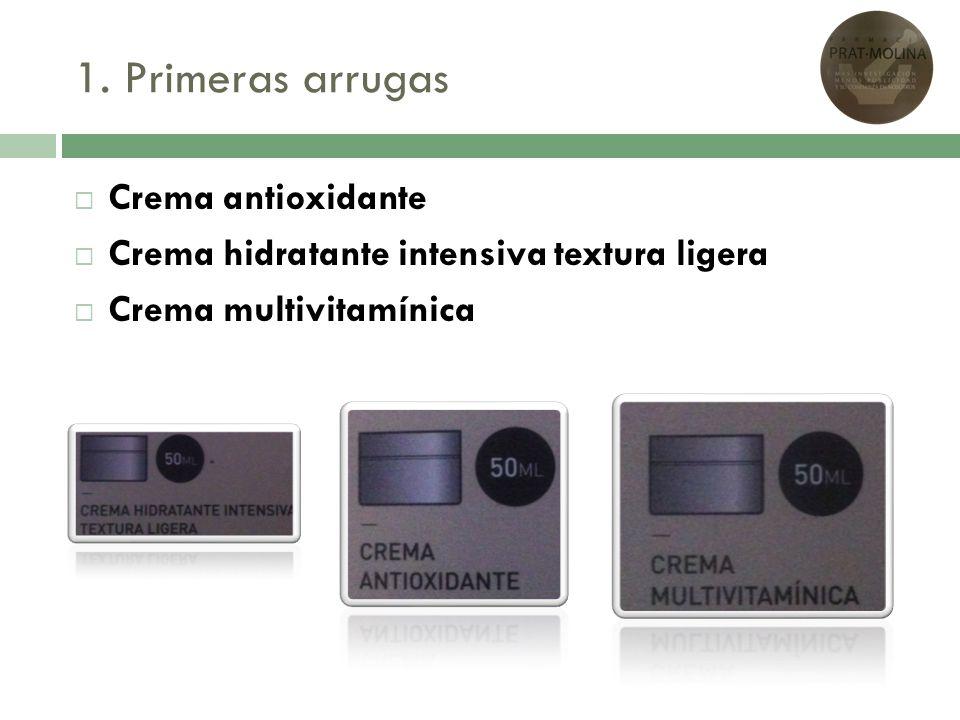 1. Primeras arrugas Crema antioxidante Crema hidratante intensiva textura ligera Crema multivitamínica