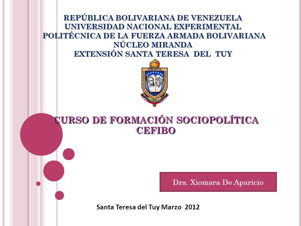 REPÚBLICA BOLIVARIANA DE VENEZUELA UNIVERSIDAD NACIONAL EXPERIMENTAL POLITÉCNICA DE LA FUERZA ARMADA BOLIVARIANA NÚCLEO MIRANDA EXTENSIÓN SANTA TERESA