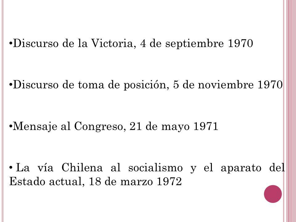 Discurso de la Victoria, 4 de septiembre 1970 Discurso de toma de posición, 5 de noviembre 1970 Mensaje al Congreso, 21 de mayo 1971 La vía Chilena al