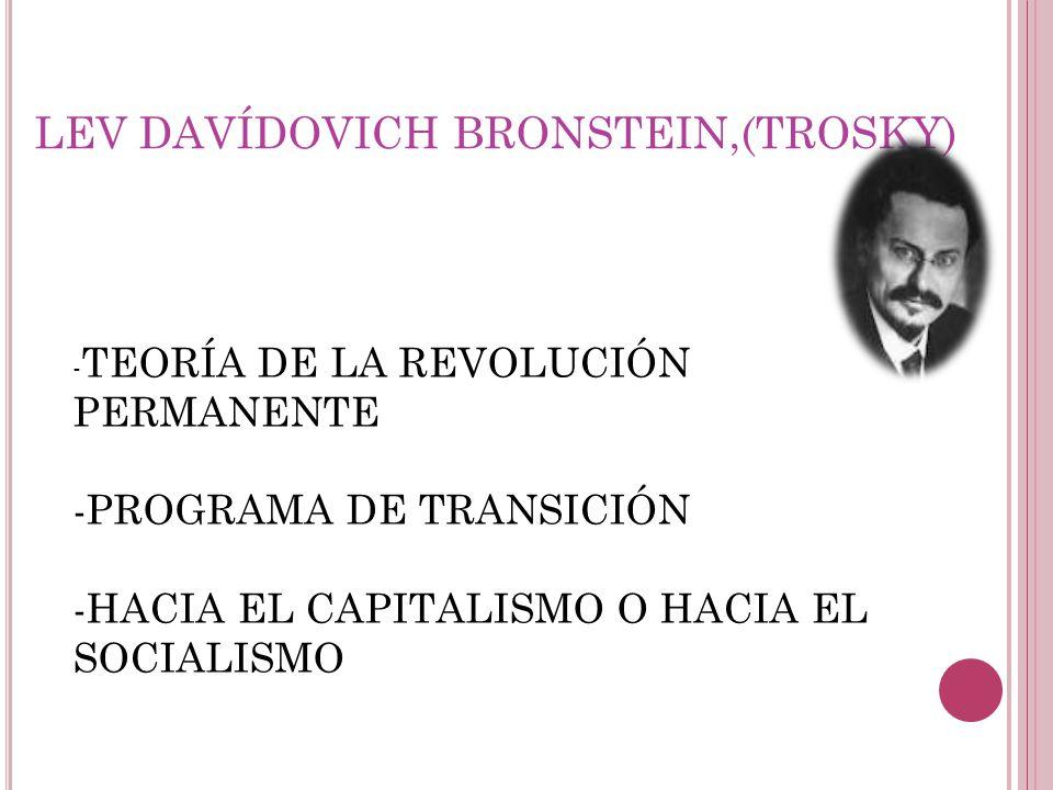LEV DAVÍDOVICH BRONSTEIN,(TROSKY) - TEORÍA DE LA REVOLUCIÓN PERMANENTE -PROGRAMA DE TRANSICIÓN -HACIA EL CAPITALISMO O HACIA EL SOCIALISMO