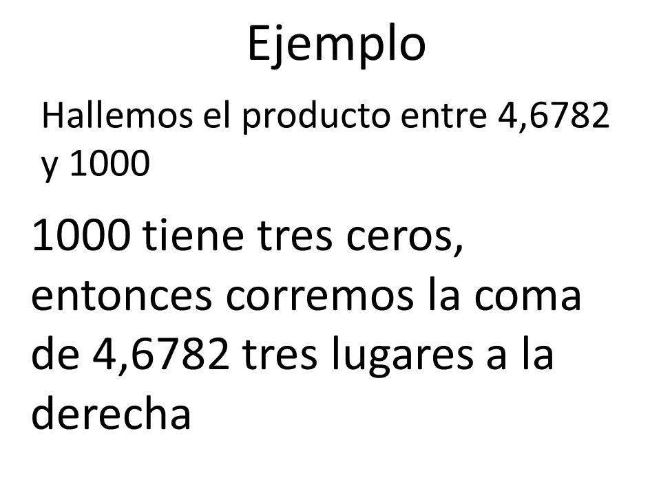 Ejemplo Hallemos el producto entre 4,6782 y 1000 1000 tiene tres ceros, entonces corremos la coma de 4,6782 tres lugares a la derecha