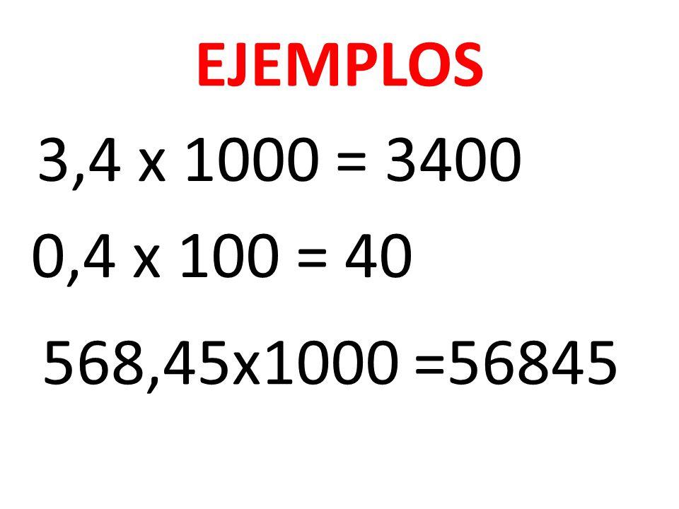 EJEMPLOS 3,4 x 1000 = 3400 0,4 x 100 = 40 568,45x1000 =56845